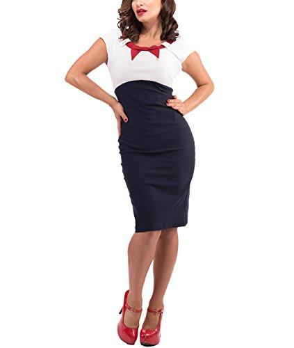 Steady Rockabilly Bleistiftkleid - Katy Pin Up Kleid Dunkelblau Kurzarm
