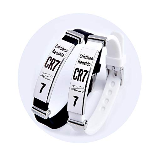 Lorh's store Fußball Cristiano Ronaldo inspirierende Unterschrift verstellbare Armbänder CR7 Sport Silikon Armband 2 Stück - Inspirierende Fußball