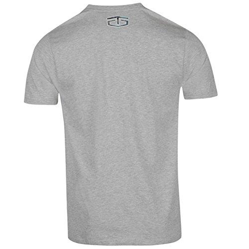 Tapout Herren Camouflage Logo T Shirt Kurzarm Rundhals Baumwolle Print Grau Meliert