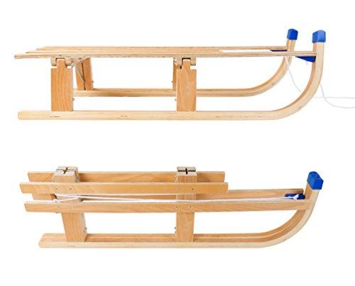 Buri Klapp-Schlitten aus Holz mit Zugleine 110x30 cm Rodeln Schnee Kinder Winterspaß