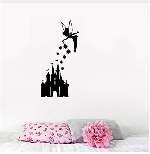 Tinkerbell Wall Decal Tinkerbell und Burg Decal Vinyl Aufkleber Auto Zimmer Handwerk Jdm Diy Kinderzimmer Wand Dekor -
