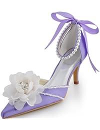 Chaussures de mariée bout fermé satin perles fleur