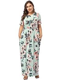 c1df63fd136ed FeelinGirl Robe Jupe Femme Robe ete Taille Haute avec Poche Manche Court  Longue Imprime Chic Elégant