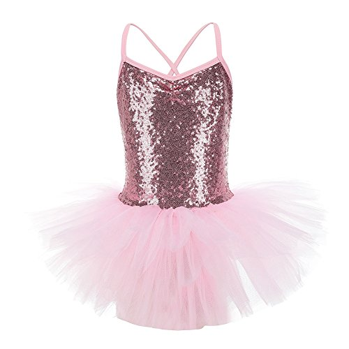 Dance Mesh-trikot (Reefa Girls Sequined Leotard with Tutu Dress Ballet Dance Dress)