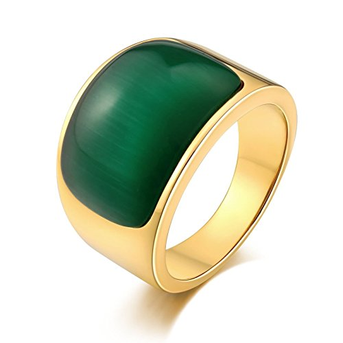 SonMo Stainless Steel Herren Ringe Siegelring Gold Ring mit Weißem Opal Grün Signet Ring Band Ring Daumenring für Mann