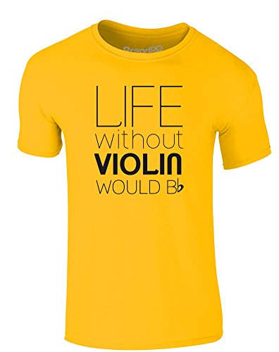 Brand88 - Life Without Violin Would Be Flat, Erwachsene Gedrucktes T-Shirt Gänseblümchen-Gelb/Schwarz