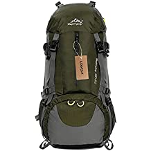 Lixada Mochila de Senderismo 50L con Cubierta Impermeable Mochila de Marcha Trekking Camping Deporte al Aire