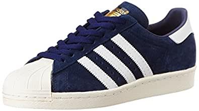 adidas Originals Men's Superstar 80S Dlx Suede Blue, Vintage White and Gold Leather Sneakers - 11 UK