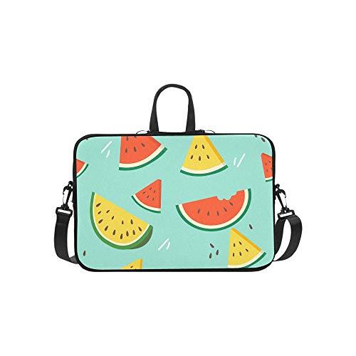 Laptop Umhängetasche Umhängetasche Tasche Notebook Griff Ärmel Neopren Soft Carring Tablet Reisetasche, Wassermelonen-Schnittmuster auf flachen Laptop-Handtaschen 14