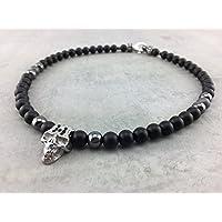 coole Halskette Kette Perlenkette aus Onyx Perlen schwarz black für Herren Männer Frauen Damen Kinder, Anhänger Skull Totenkopf Schädel Biker Schmuck R_8