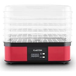 Klarstein Valle di Frutta - déshydrateur, robot déshydrateur, déshydrateur de fruits, 5 niveaux, 250 Watts, température réglable, 2 commandes, plateaux à mailles fines, cadre inox, rouge