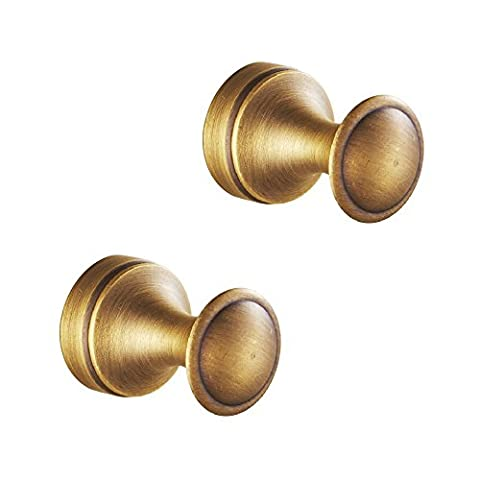 Weare Home 2 Pcs Antique Brass Coat Hooks Wall Mounted Hangers Hardware Hanging Clothes Hat for Bathroom