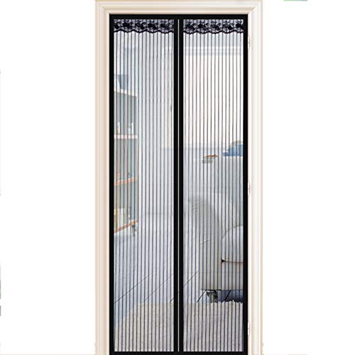 LISIANG Fliegengitter Magnetvorhang für Türen, Moskitonetz für Türen Kinder und Haustiere der Automatischen Schließung der Bildschirm Fenster Netze ohne Bohren Balkontür,Black,80x190cm(31x75in) -