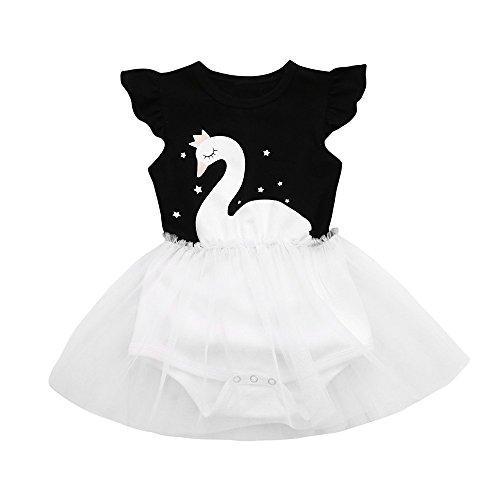 ❤️LILICAT Nouveau-né Bébé Toddler Filles Star Swan Imprimer Net Fil Princesse Tutu Robe Vêtements 6M-24M (Black, 6M)