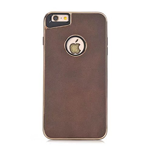 Dual Layer PC + TPU Eletroplating PC Retro verrückte Pferd Leder Skin Shell Cover Case für iPhone 6 Plus und 6s Plus ( Color : Brown ) Brown