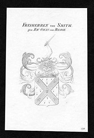 Freiherren von Smith gen. Mac Gavan von Balroe - Smith genannt Mac-Gavan von Balroe Wappen Adel coat of arms Kupferstich antique print heraldry Heraldik