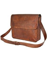 CraftWorld 15''INCHES Genuine Leather Laptop Cum Messenger Dark Tan Bag - Half Flap