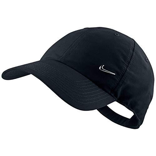 Nike Cap Metal Swoosh Logo, Schwarz/Metallic Silver, One Size, 340225 - Nike Womens Golf Apparel