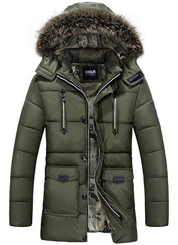 Giacca invernale con cappuccio a maniche unico in lunghe cappuccio con poliestere pesante invernale da uomo cappotto parka giacca invernale da uomo staccabile con cappuccio ( color : grün , size : l )