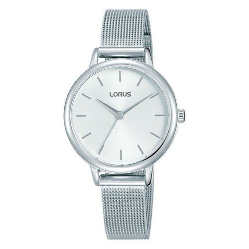 LORUS- QUARTZ LADIES STAINLESS STEEL WHITE DIAL MESH BRACELET WATCH