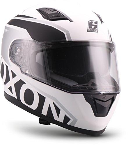 """Soxon  ST-1000 Race \""""White\"""" (Weiß)  Integral-Helm  Motorrad-Helm Full-face Sturz-Helm Roller Cruiser Scooter-Helm  ECE zertifiziert  inkl. Sonnenvisier  Click-n-Secure Verschluss  L (59-60cm)"""
