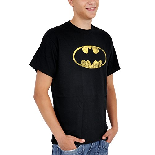 Cooles Batman Logo Fan T-Shirt Distressed Shield Elbenwald Baumwolle schwarz - M (Distressed T-shirt Baumwolle)