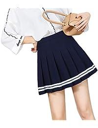 Hibote Mujeres Falda A Cuadros Estilo Lolita Harajuku Kawaii Faldas A Rayas  Dulces Mini Lindo Uniforme 8d8cebab2a00