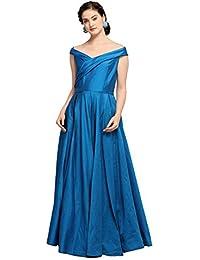 INDDUS Women's Taffeta Silk Flared Solid Long Maxi Dress