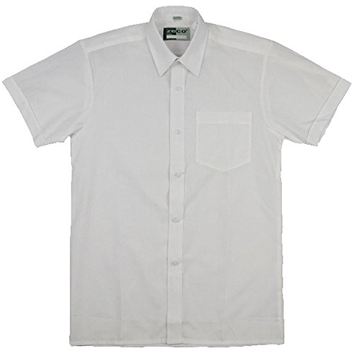 Quality Girls Easy Iron Generous Cut School Blouse, Short Sleeve, White 34in chest