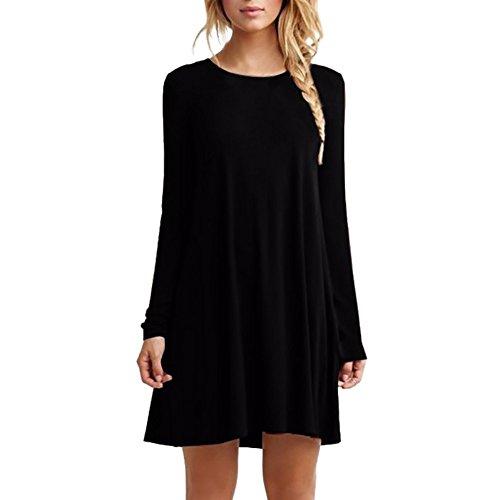 ROPALIA Mini Robe Tunique Femme Casual Lâches Robe Col Rond Noir