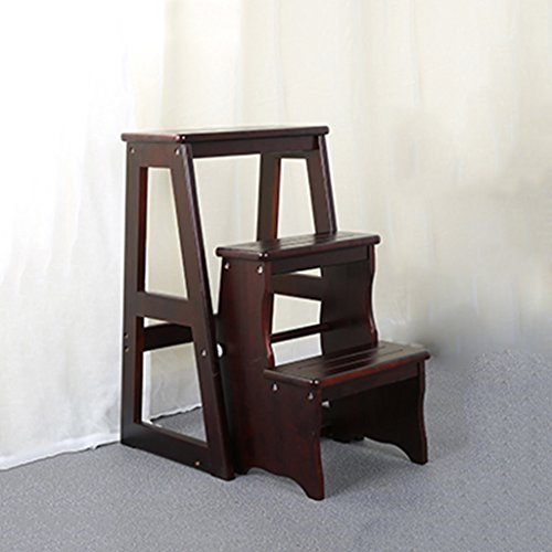 Intérieur Pliant 3-step Ladder Chaise En Bois Massif À Double Usage Escabeaux Simple Ménage Multi-function Stool Stool ( Couleur : Deep Walnut color )