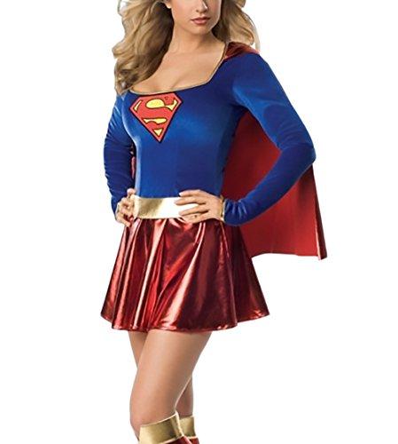 ics Superman Supergirl Bodysuit And Skirt Costume Set Fasching Halloween Kostüm Mode Classic Cosplay Erwachsener (Superman Halloween Kostüme Für Erwachsene)