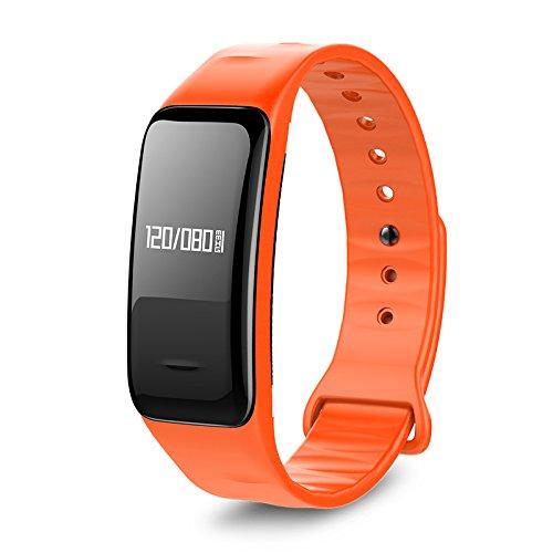 Atlanta Fitness Tracker mit Herzfrequenz GPS Pulsmesser Blutdruck Blutsauerstoff Schrittzähler Smartwatch Armband Uhr 9701 (Orange)