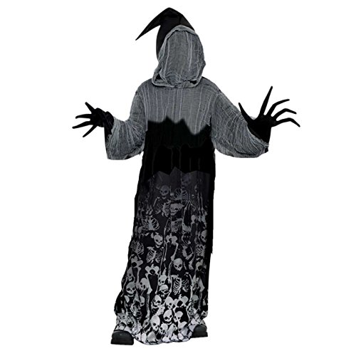 Creeper Kostüme Der (BOYS Dark Shadow Creeper Halloween Phantom der Dunkelheit Skeleton Kostüm 14-16)
