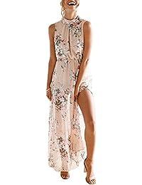 Robe de Soirée Femme Mousseline de Soie Floral Sans Manches Robe Bal de  Prom Longue Robe c600f8fbeb5d