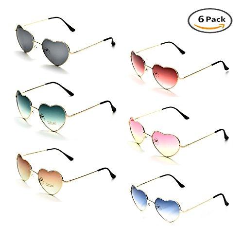 Onnea Herz Sonnenbrille Metall Rahmen Pack für Kinder Damen Sommer (6 Pack Mehrfarbig)