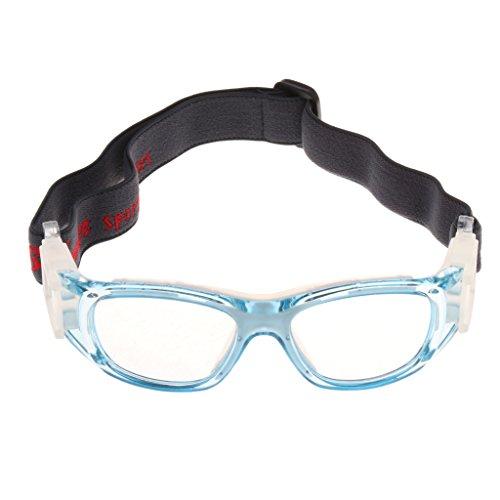 MagiDeal Sportbrillen - Kinder Brille Basketball Fußball Schutzbrillen mit Elastikband Brillenetui - Blau-Rot