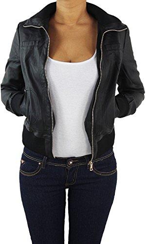 Damen Lederjacke Kunstlederjacke Leder Jacke Damenjacke Jacket Bikerjacke 09all 2XL Schwarz
