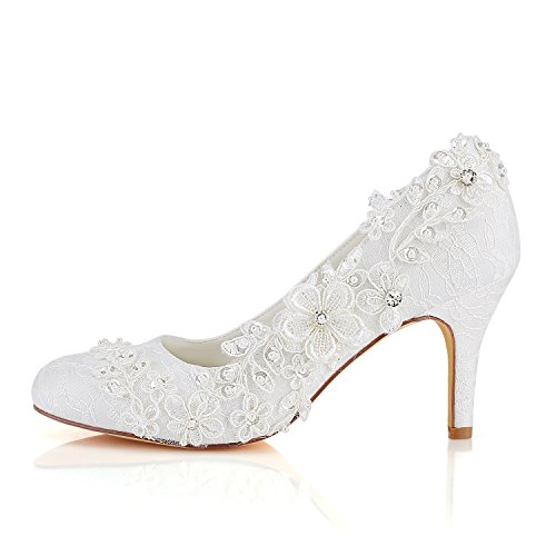 Emily Bridal Wedding Shoes Women's Silk Like Satin Stiletto Heel Pumps with Stitching Lace Flower Crystal Pearl (EU38/UK5, Ivory)