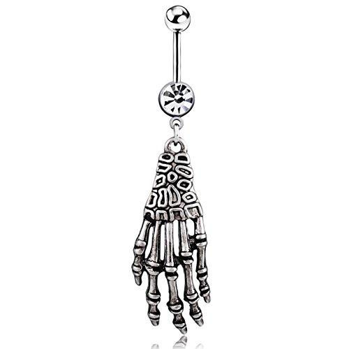 Brolux(TM) 1PC neue Art und Weise Sexy Punk Skeleton Sch?del Hand Schild Nippel Bar Navel Belly Button Ring-Bauch-K?rper-Piercing 0951