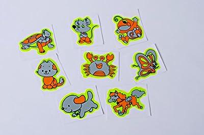 Tiere Aufkleber reflektierend 8 Stück Set | Reflektoren Tiere | Sicherheits Aufkleber | gelbe Aufkleber | Reflektoren | Reflektorsticker | neongelb