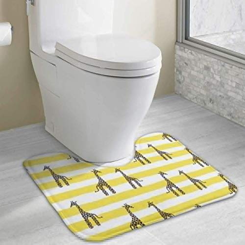 Uosliks Giraffe and Stripes Soft Absorbent Bathroom Non-Slip Carpets Bath Mats Rug - Chenille Multi Stripe