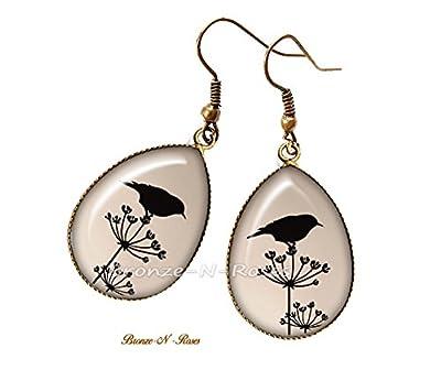 Boucles d'oreilles gouttes Ombre d'oiseau cabochon bronze beige bronze-n-roses