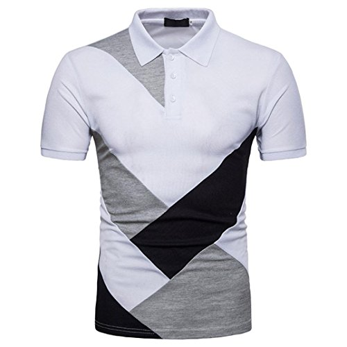 Preisvergleich Produktbild Männer Bluse / VENMO Lässige dünne Patchwork Kurzarm T-Shirt Top / T-shirt Slim Fit Shirt Männer Hemden Kurzarmshirt Hemden Slim Oberteile Freizeit Shirts Kurzarm Tops