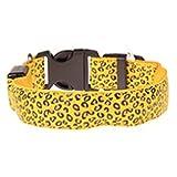 alkyoneus Pets Dog Puppy Light Night Flashing Safety Leopard Nylon Halsband verstellbar