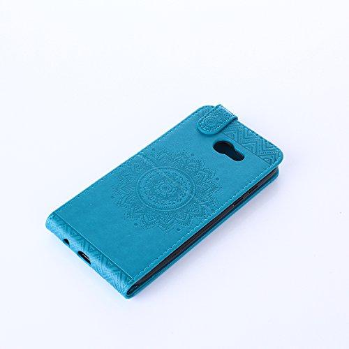 Samsung Galaxy A5 2017 Hülle Leder Tasche Flip Cover Samsung Galaxy A5 2017 Wallet Case Alfort Stilvoll Handycover Braun Mandala Blumen Muster PU Ledercase Brieftasche Handyhülle für Samsung Galaxy A5 Blau