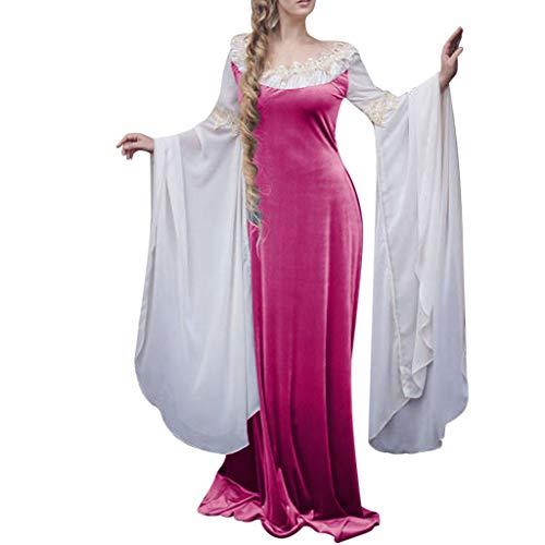 Rabung Costume Demoiselle MédiéVale, Robe Vintage MédiéVale à Manches Longues et à Encolure Ronde pour Femmes Cosplay Costume Vintage Victorien Partie Costume Gown