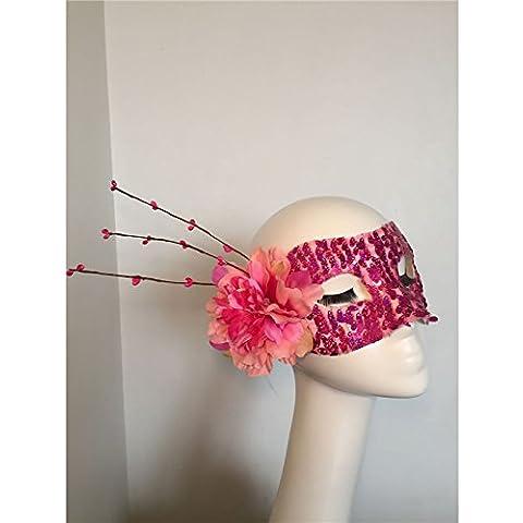 HUAXI Mano su misura, sexy rosa rossa, maschere di pizzo fiori in rattan, maschera di palco spettacoli, mascherina del partito, festa maschera
