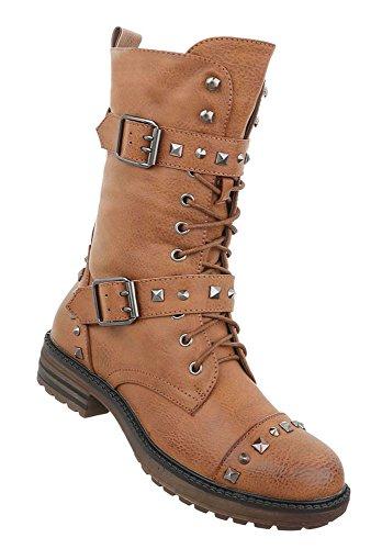 Schuhcity24 Stylische Damen Stiefeletten | Worker Boots Schnürstiefel | Halbschaft Stiefel | Damenschuhe Leder-Optik | Robuste Outdoor Stiefelette | Gelochte Schnürstiefelette Camel 36 (Kniehohe Schaft-stiefel)