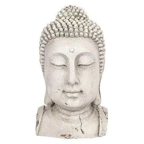 Spirit of Equinox groß Übergroße Buddha Kopf Statue für Garten oder Innen-weiß 51,5cm